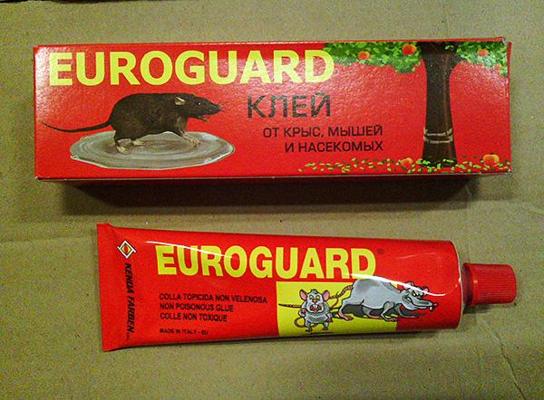 Клей итальянского производства против крыс, мышей и насекомых Euroguard.