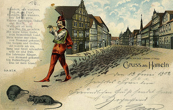 Гамельнский крысолов - персонаж средневековой легенды, который с помощью игры на дуде увёл из города всех крыс.