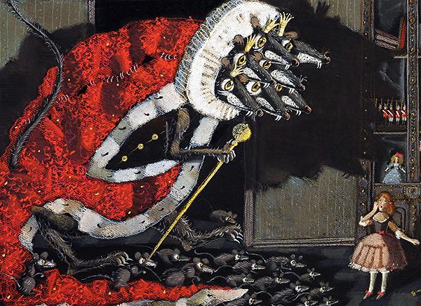 """На картинке показан широко известный сказочный образ семиголового короля крыс из произведения Э. Т. А. Гофмана """"Щелкунчик и Крысиный Король""""."""