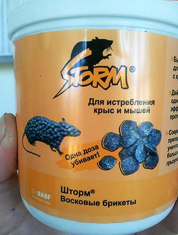 Например, отрава Шторм может продаваться в небольших ведрах, содержащих несколько восковых брикетов.