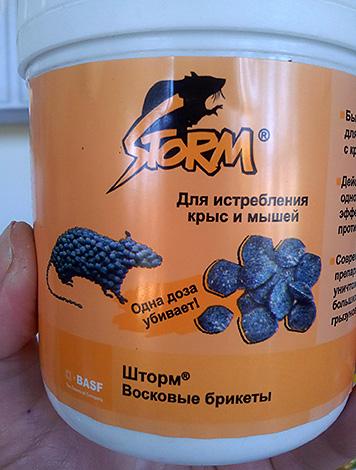 Отрава для уничтожения крыс и мышей Шторм (восковые брикеты).