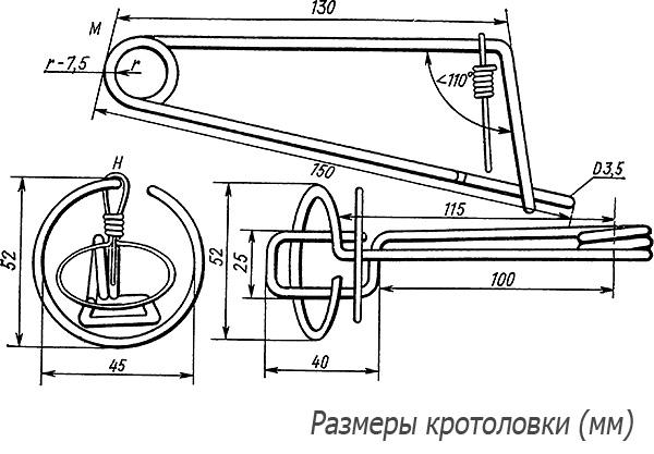 На картинке показаны размеры проволочного капкана, который при желании можно сделать самостоятельно.