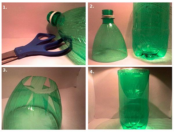 Схема изготовления кротоловки из пластиковой бутылки своими руками.