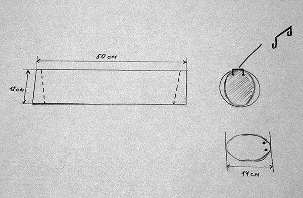 Чертеж кротоловки-трубы