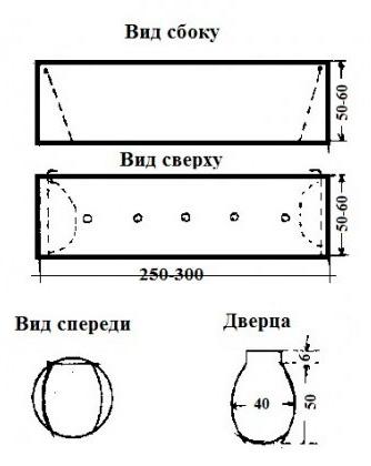 Чертеж кротоловки, где дверца крепится путем загиба ее части, например, вокруг гвоздя.