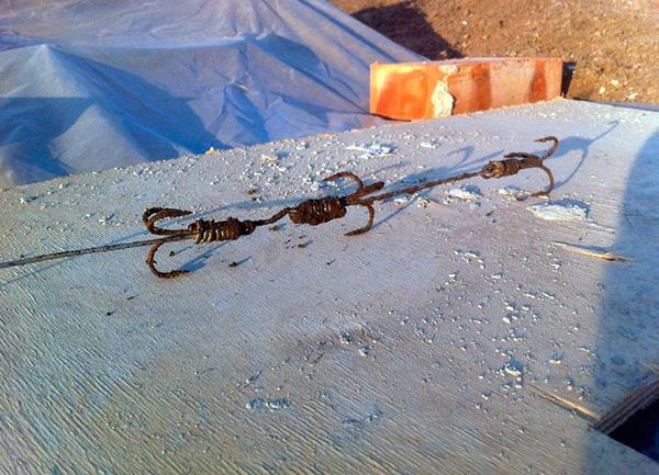 К сожалению, некоторые избавляются от кротов на даче, ловя их на такие вот рыболовные крючки...