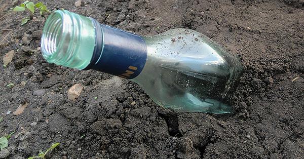 Пустые стеклянные бутылки, закопанные под углом в землю, гудят на ветру и тем самым также способны иногда отпугнуть крота с территории.