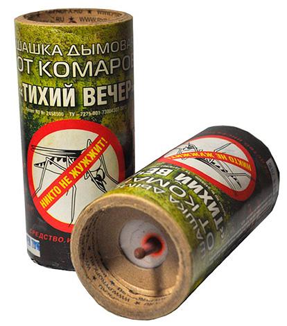 На фотографии показан пример инсектицидной дымовой шашки (Тихий Вечер).