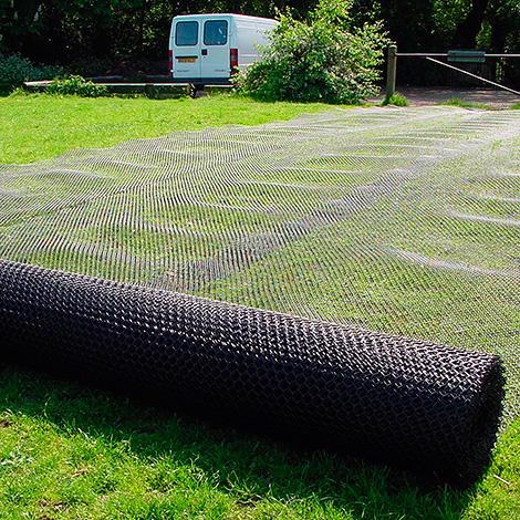 Иногда газонную сетку укладывают прямо на траву.