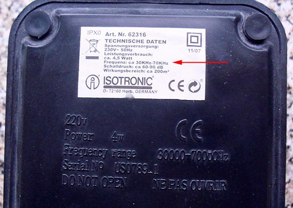 Для данного аппарата диапазон частот излучаемого ультразвука находится в пределах 30-70 кГц.